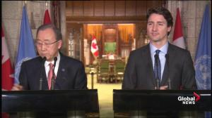 Ban Ki-moon asked if he objects to Canada's arms deal with Saudi Arabia