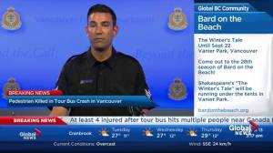 Pedestrian killed in tour bus crash in Vancouver
