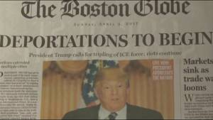 Boston Globe's editorial front page on Donald Trump presidency causes waves