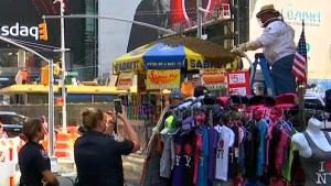 Bees swarm hot dog cart in Times Square, police shut down street