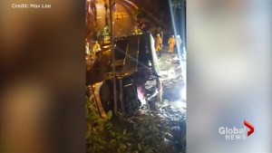 Witness video captures chaotic scene following deadly double-decker bus crash in Hong Kong