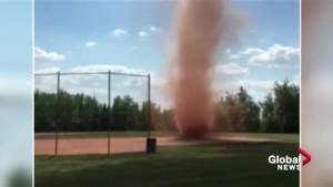 Dust devil pops up at Edmonton ball diamond