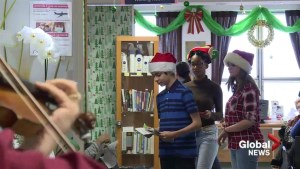 Students sing for cancer patients at St. Mary's Hospital