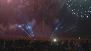 Egyptians celebrate arrival of 2016 with fireworks over Pyramids