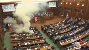 Tear gas set off in Kosovo's parliament