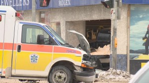 Downtow crash involves an ambulance, a truck and a jewellery store