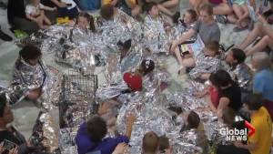 Children wrapped in silver thermal blankets protest immigration policy on Capitol Hill