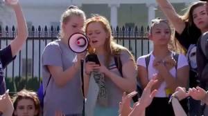 Demonstrators read Florida school shooting victims' names outside White House