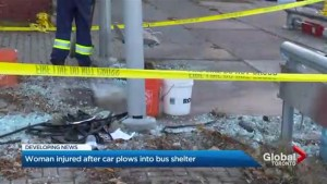 Driver speaks out after slamming into Toronto bus stop, injuring woman