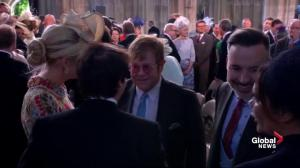 Royal Wedding: Elton John chats with guests inside chapel