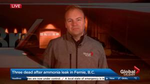 Three dead after ammonia leak in Fernie, B.C.
