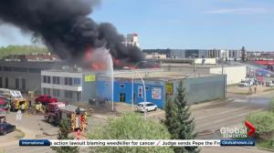 Edmonton firefighters battle massive fire in west end