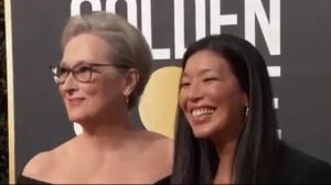 Activists behind TimesUp out front at Golden Globes