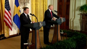 From North Korea to tariffs, Trump faces questions during meeting with Swedish PM
