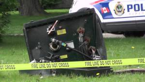 Car strikes transformer box on lawn of Peterborough home