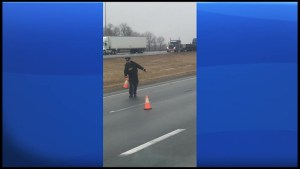 Flash freeze on Highway 401 near Brighton
