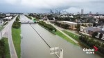 Drone footage shows flooded roadway outside Houston