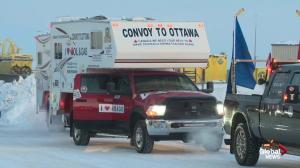 Large truck convoy enters Ottawa to protest federal oil policies