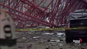 Shocking scenes of devastation following crane collapse in NYC