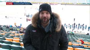 Edmonton weather forecast live from Commonwealth Stadium