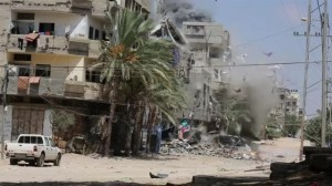On-the-ground footage of Israeli airstrike collapses building