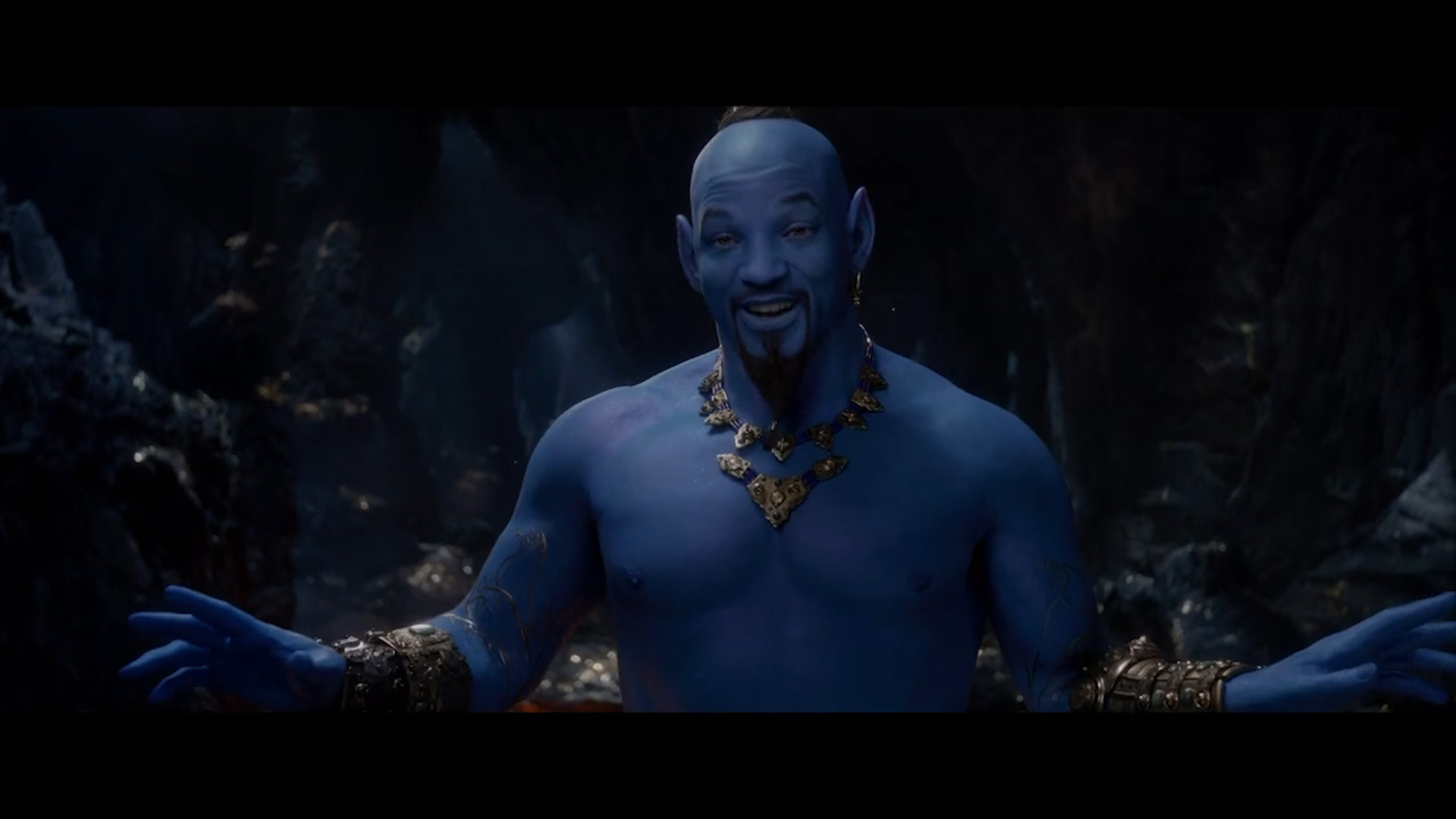 Aladdin trailer revealing Will Smith as the Genie airs during Grammys