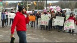 Trent students and supporters protest student aid cuts in front of MPP Dave Smith's office