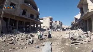 Raw video shows aftermath of airstrikes in Syria