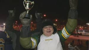 Eskimos fans reactions after their team wins Grey Cup in Winnipeg