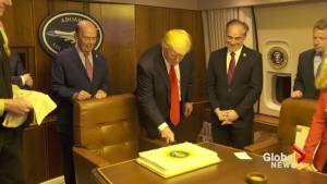 Trump celebrates 100 days with cake on Air Force One