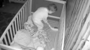 Sudbury, Ontario toddler caught on camera playing hockey in crib