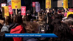 Students across Ontario walk out of class in protest of proposed OSAP changes