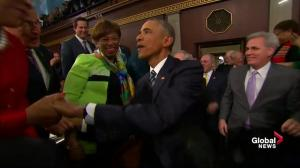 Obama greeted as he arrives at Congress to deliver State of the Union address