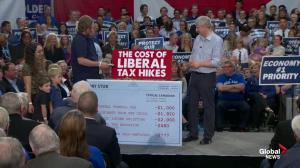 Stephen Harper focuses on Liberal's tax hike during rally