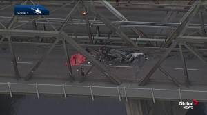 Speed, alcohol suspected in fatal rollover that dented Edmonton's Low Level Bridge (02:54)
