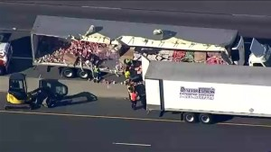 Cleanup underway after yogurt spill causes partial closure of Hwy 401