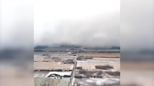 Eerie drone footage shows lake-effect snow rolling over Stratford, Ont.