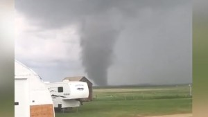 'Landspout' tornado spotted rolling over southeastern Saskatchewan