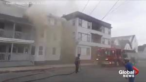 Videos by local residents show crews tackling the fires in Massachusetts on Thursday afternoon