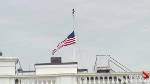 White House flag flies at half staff to honour school shooting victims