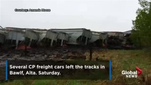 CP freight train derails in Bawlf, Alta., Saturday morning