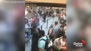 TSA agent removes smoking bag at airport in scary moment caught on camera (00:39)