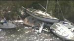 Boats completely destroy after Hurricane Irma hit Monroe County, Florida