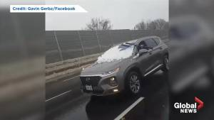 Video appears to show motorist clear snow from windshield while driving