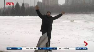 Snow or shine, Kent Morrison gets his golf on at the driving range