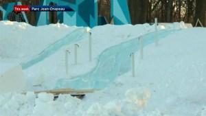 Frozen sculptures at Fête des Neiges