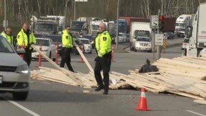 Highway 17 partially closed after lumber spill