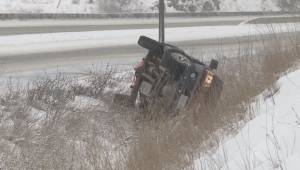 Vehicle in ditch along Highway 97 near Vernon BC