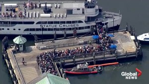 Liberty Island evacuated after three propane tanks catch on fire