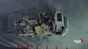 Box truck explodes scattering debris everywhere in Los Angeles